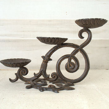 Wrought Iron Candle Holder, Wrought Iron Candle Stand, Rustic Fireplace Candelabra