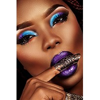 Purple & Black liquid Lipstick & Blue Eye Shadow