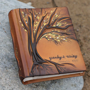 Leather photo album 10 x 7 1/2  with Tree for 300 photos