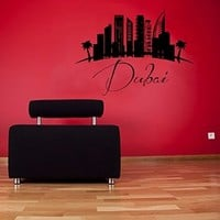 Wall Decals Dubai Vinyl Stickers Dubai UAE Landscape City Skyline Decal World City Wall Decor Beauty Salon Interior Design Home Wall Art Murals Bedroom Living Room Dorm Decor KT135