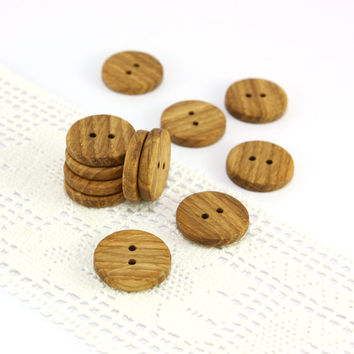 Round wood buttons - Set of 12 oak wood buttons - 0.8in (20mm) - Natural wooden buttons - Handmade craft supplie (O9566)