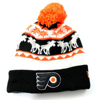New Era Unisex Philadelphia Flyers Mooser Cuff Pom Black Beanie Hat