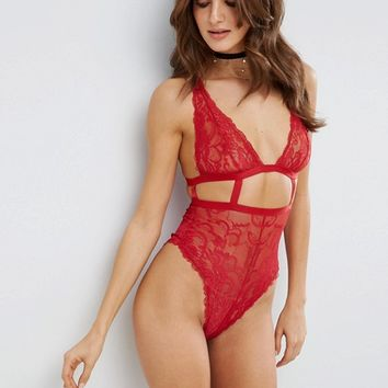 ASOS Gia High Apex Lace Cut Out Body at asos.com