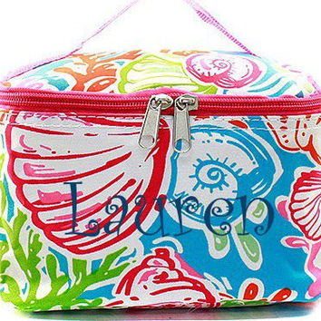 Pink Coral Reef Monogrammed Cosmetic Bag  Tropical Cosmetic Bag  Monogrammed Makeup Bag