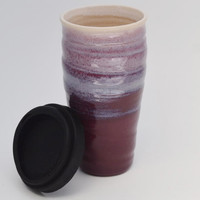 Burgundy Travel Mug with Lid, Large Lidded To Go Mug, 20 oz Stoneware Mug, Made to Order
