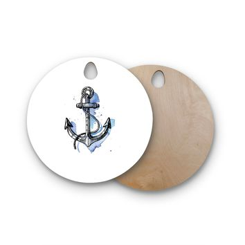 "KESS Original ""Anchor Watercolor"" Round Wooden Cutting Board"