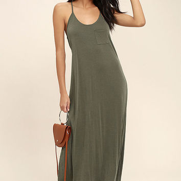 Frida Olive Green Midi Dress