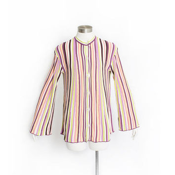 Vintage MISSONI Sport Sweater - Striped Wool Knit Pastel Cardigan 1990s - Medium