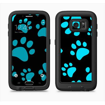 The Black & Turquoise Paw Print Full Body Samsung Galaxy S6 LifeProof Fre Case Skin Kit