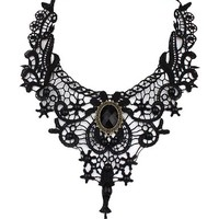 Women's Fashion Black Vintage Lace and Stone Choker Necklace
