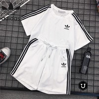 """Adidas"" Women Casual Fashion Short Sleeve Pullover Shorts Set Two-Piece Sportswear"