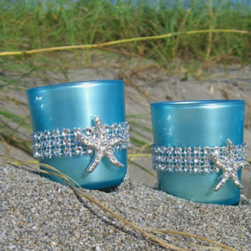 Beach Wedding Favors-Starfish Votive Candle Holders-SET of 4-Bridal Showers, Home Decor, Nautical Weddings, Mermaid Party Decor,