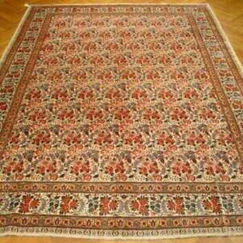 10' x 13' Ivory Sarouk All-over Bouquets Unique Wool Persian Handmade Rug