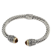 Effy Balissima 18Kt. Yellow Gold & Sterling Silver Bangle Bracelet with Citrine End Caps