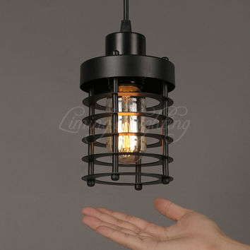 Modern Vintage Loft Adjustable Metal Pendant Light Retro Cafe Brass Cage Wall Lamp Country Style Sconce Lamp Fixtures Dia 100Mm