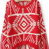 Red Long Sleeve Geometric Pullovers Sweater S038