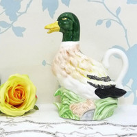 Novelty Jug, Mallard Duck Jug or Creamer, Ceramic Duck Jug, China Duck Ornament, Figurine, Kitsch, Collectable, hand painted, housewares
