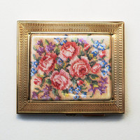 Cigarette Case, Gwenda Cigarette Case, Cigarette Holder, Cigarette Box, Petit Point, Compact Mirror, Business Card Holder, Flowers - 1940s