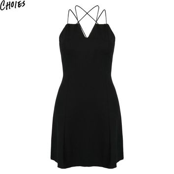 Women 2 Colors Strappy Cross Backless Sexy Elegant Mini A Line Beach Dress Summer New Slim Empire Off Shoulder Clothing