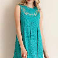 Entro Jade green solid sleeveless cotton crochet lace dress