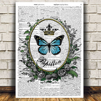 Insect print Dictionary art Butterfly poster Nature print RTA682
