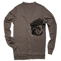 Unisex PUG HOOLIGAN Tri-Blend Cardigan - American Apparel - XS S M L (4 Color Options)