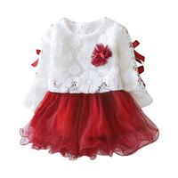 Free Shipping Baby Girls Dress Long Sleeve One Piece Flower Cotton Princess Tutu Dresses Toddler Kids Clothes