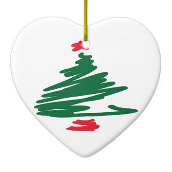 Christmas Tree Double-Sided Heart Ceramic Christmas Ornament