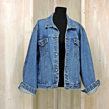 "Vintage 80s denim jacket / size L /  mens  / womens / denim trucker jacket  / Faded Retro / Oversized jean jacket /  52"" chest / BRJ Canada"