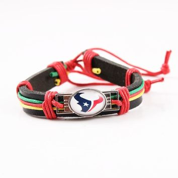 6pcs/lot Handmade America Football Team  Houston Texans Signs Leather Cuff Bracelet Glass Cabochon Charms Leather Bracelets