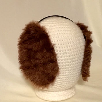 Custom faux fur furry Puppy Dog Ears Headband Floppy Brown poodle doodle golden retriever Shih Tzu Sheepdog St Saint Bernard Cosplay