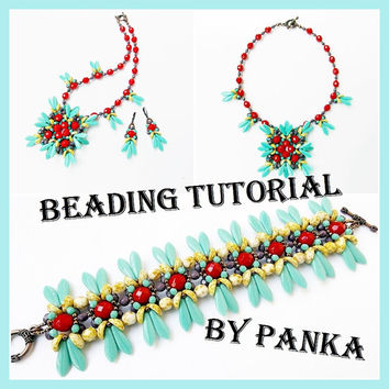 Beading tutorial set. Beading pattern set. Pendant tutorial. Earrings tutorial. Bracelet tutorial. Instant download.