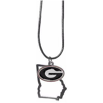 """Georgia Bulldogs Home State Charm Necklace Silver Tone 18"""" Snake Chain"""