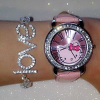 Pink Hello Kitty Watch and  Swarovski bead bracelet (in gift box)