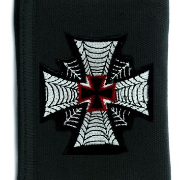 Spider Web Iron Cross Tri-fold Wallet w/ Chain Occult Clothing