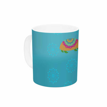 "Cristina bianco Design ""The Turtles"" Teal Orange Ceramic Coffee Mug"