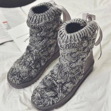 ac VLXC Winter knitting wool flat flat with bow tie snow boots [118133653529]