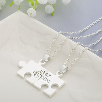 Christmas Gifts 2pcs Puzzles Pendant Necklaces Friendship Necklace Best Friends Forever Creative Keepsake Memorial Day -Christmas Gift