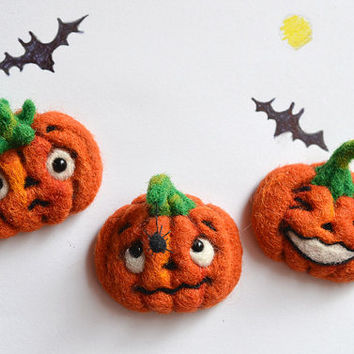 Halloween emotions pumpkin fridge magnets set