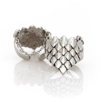 Ever Eden by Michelle Phan Armor Finger Ring with Chains - Silver