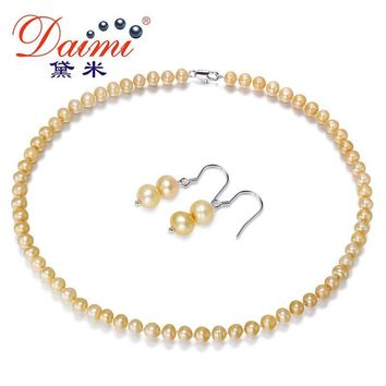 Champagne Color Pearl Jewelry Sets, Necklace & Earrings Natural Freshwater Pearl Jewelry Gifts for Women
