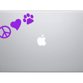 PEACE LOVE DOGS Vinyl Decal Great for Macbooks by OwlOutfitters