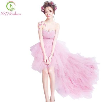 SSYFashion sexy strapless sleeveless short front long back cocktail dress pink asymmetrcal beading banquet party formal dress
