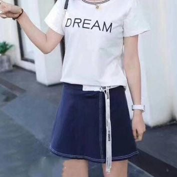 Women's Leisure  Fashion Letter  Printing Short Sleeve Elastic Short Skirt Two-Piece Casual Wear
