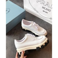 Prada White Monolith Patent Leather Derby Shoes - Best Online Sale