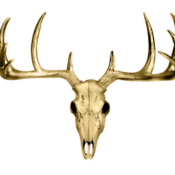 The MINI Gold Faux Taxidermy Resin Deer Head Skull Wall Mount | Metallic Gold Deer Head Skull