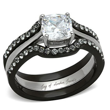Perfect 1.9CT Cushion Cut Russian Lab Diamond Black Bridal Set