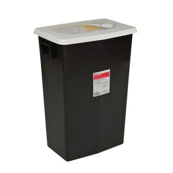 Covidien RCRA Waste Container Plastic Black Base White Lid Free Standing