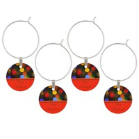 Multicolored Christmas lights. Add text or name. Wine Charm