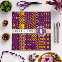 Gold Plum Digital Paper Gold Foil Paper Plum Background Gold Paper Texture 12x12 Scrapbook Set Commercial Use Cards Stationery Invites